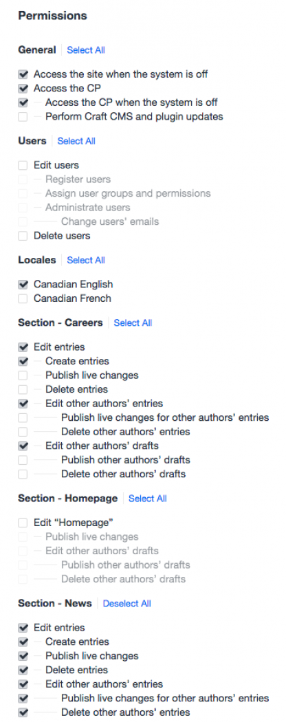 Screenshot of Craft user permissions editing interface