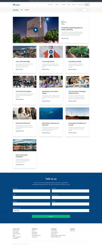 Screenshot of SurveyMonkey Apply case studies index