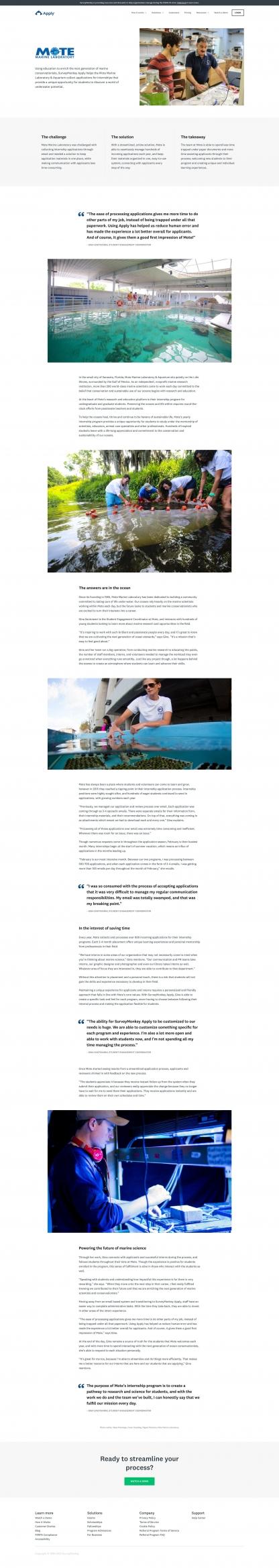 Screenshot of SurveyMonkey Apply case study