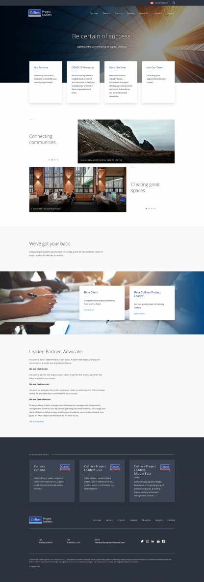 Screenshot of Colliers Project Leaders home page
