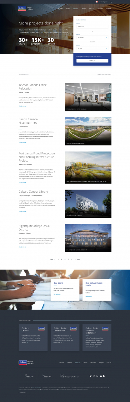 Screenshot of Colliers Project Leaders Projects page
