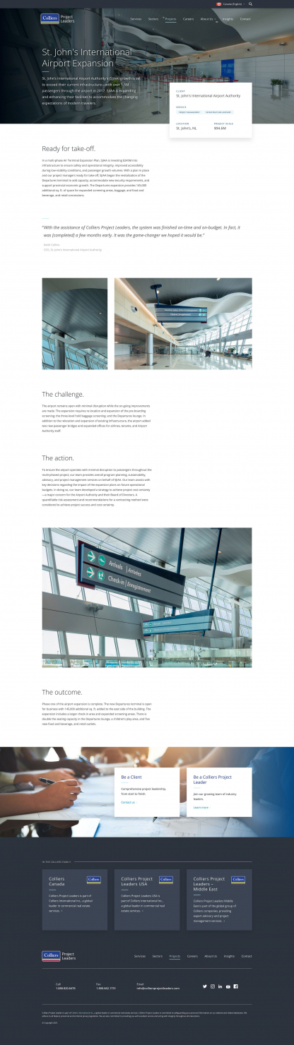 Screenshot of Colliers Project Leaders St. Johns Airport project page