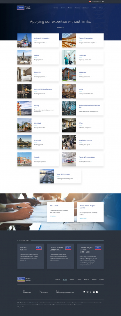 Screenshot of Colliers Project Leaders Sectors page