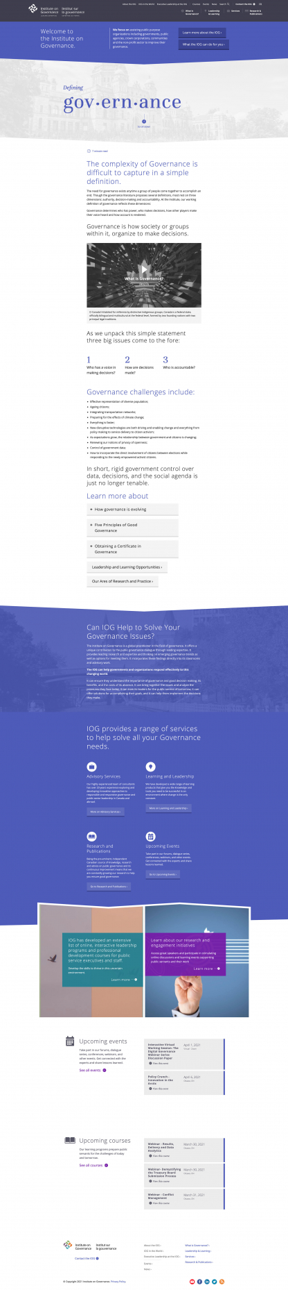 Screenshot of IOG What is Governance? page