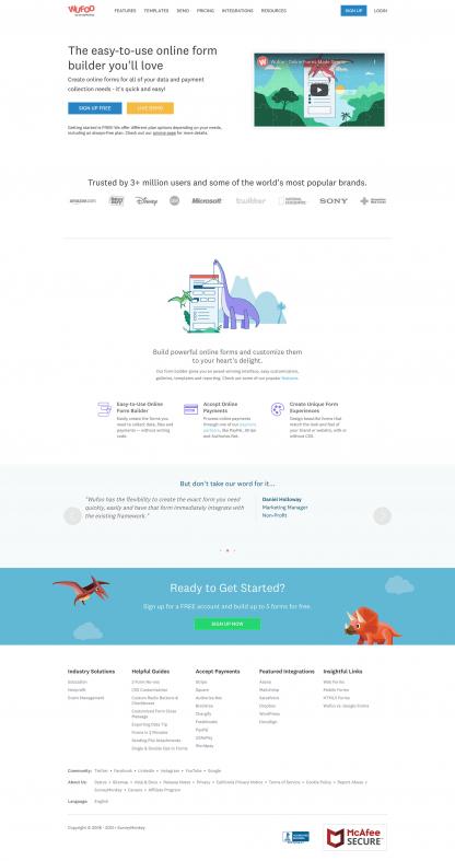 Screenshot of Wufoo home page